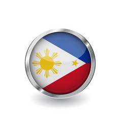 flag of philippines button with metal frame and vector image