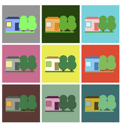 Flat icons set house and vector