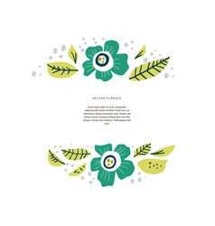 Floral border with copyspace hand drawn layout vector
