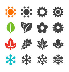 Four season icon set vector