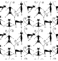 Funny black cats seamless pattern for your design vector
