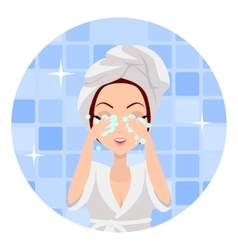 Girl Cleaning and Care Her Face vector image