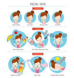 girl with facial skin problems cause prevention vector image