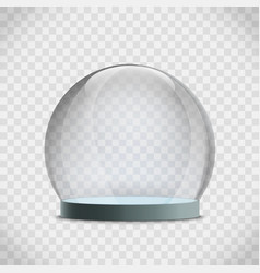 Glass dome template christmas empty snow globe vector