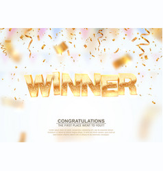 golden winner word on falling down confetti vector image