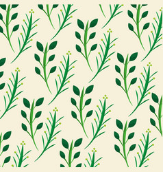 green floral leaves branch natural pattern vector image