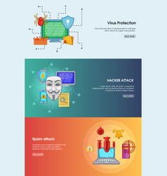 hacker banner set template cartoon style vector image