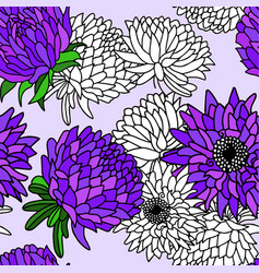 hand drawn aster flower seamless pattern vector image