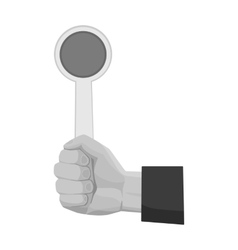 Hand holding stop sign icon in monochrome style vector