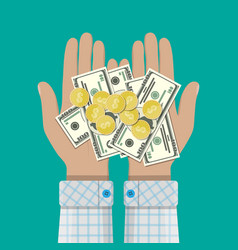 hands with golden coins and banknotes vector image