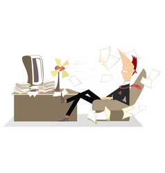 Heat in the office man fan and flying away paper vector