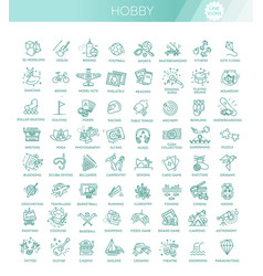 Hobbies and interest detailed line icons vector