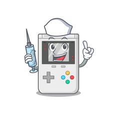 Hospitable cute nurse handheld game scroll cartoon vector