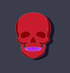Human skull paper sticker on stylish background vector