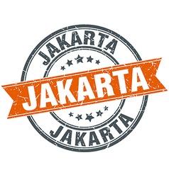 Jakarta red round grunge vintage ribbon stamp vector