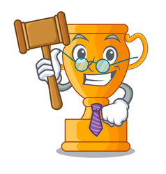 judge golden trophy cup isolated on mascot vector image