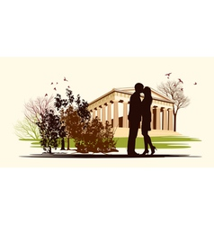 Kissing couple in historical square vector