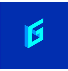 Letter g isometric projection picture cubes vector