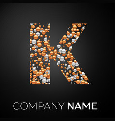 letter k logo gold-silver dots alphabet logotype vector image