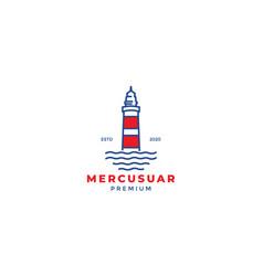 Lighthouse or navigational aid modern line logo vector
