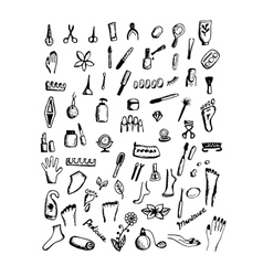 Manicure and pedicure set sketch for your design vector image