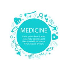 Medicine banner with medical equipment symbol vector