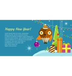 Merry Christmas Conceptual Flat Style Banner vector image