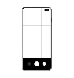 modern frameless smartphone with mobile camera app vector image