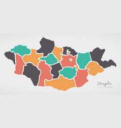Mongolia map with states and modern round shapes vector