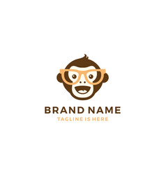 monkey chimp geek smart charm mascot character vector image