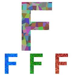 Mosaic font design - letter F vector