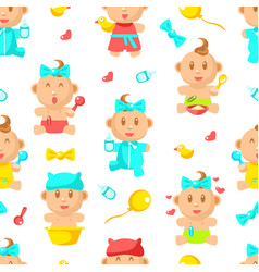 newborn babies seamless pattern cute bashower vector image