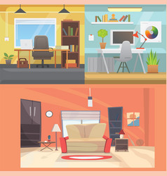 office interiors horizontal banners bussines vector image