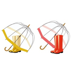 open umbrella and rubber boots vector image