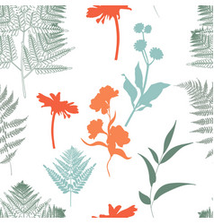 pattern with a different colors delicate herbs vector image