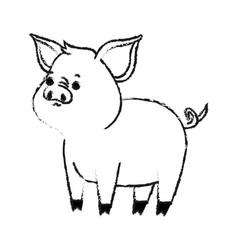 Pig cute animal cartoon icon image vector