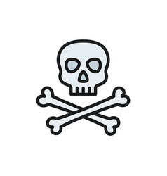 pirate skull with crossbones flat color line icon vector image