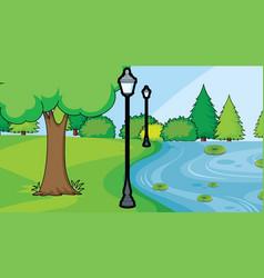 Pond in park scene vector