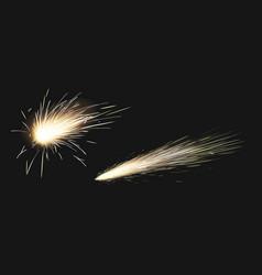 Realistic sparks weld metal blade firework vector