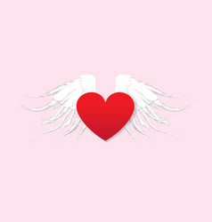 red paper heart with wings on pink background vector image