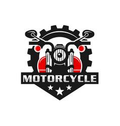 retro or vintage motorcycle emblem logo design vector image