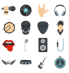 Rock music icons set in flat style vector