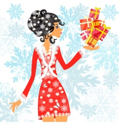 Santa girl with presents vector image