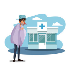 Scene sickness people with cold in to hospital vector