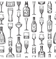seamless pattern with alcoholic drinking glasses vector image