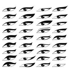 Set eyes in sketch style Painted eyes Black eye vector