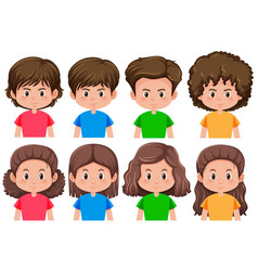 set of brunette male and female character vector image