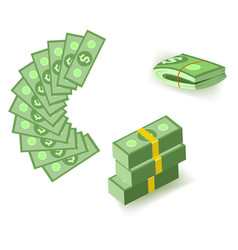 set of cartoon money currency elements with packs vector image
