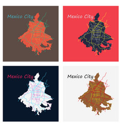 Set of flat color map of mexico city mexico city vector