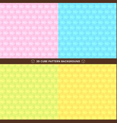 set of seamless 3d cube pattern colorful design vector image